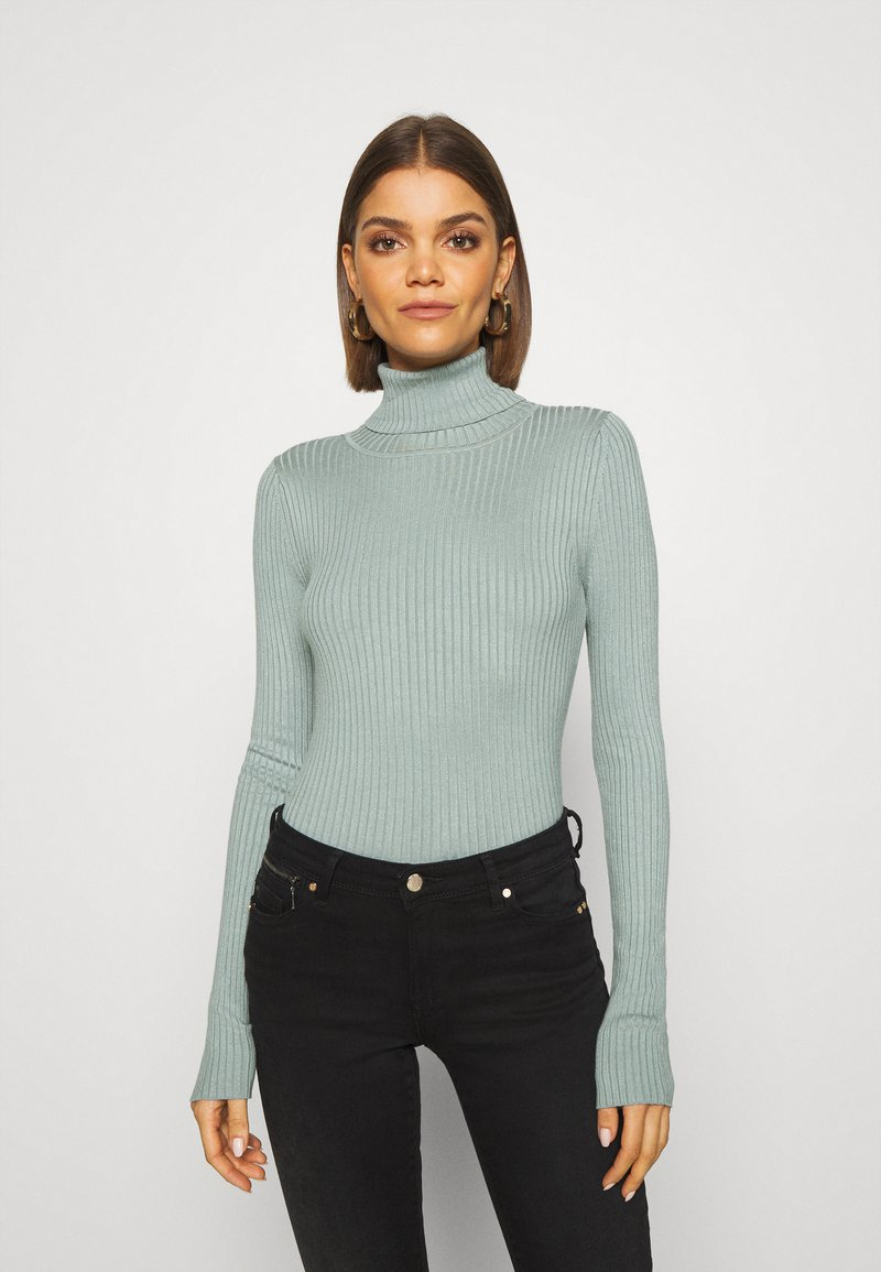Even&Odd - BASIC- RIBBED TURTLE NECK - Jumper - light green