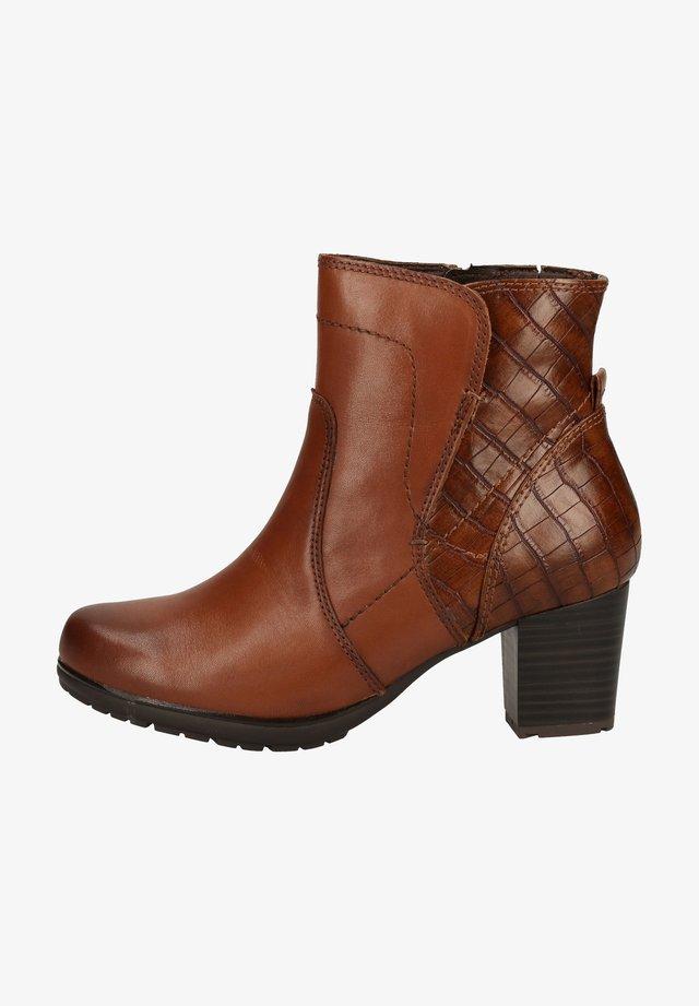 Cowboy/biker ankle boot - chestnut