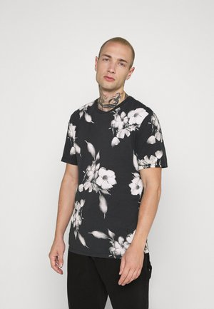 FLORAL TEE - Print T-shirt - wash black