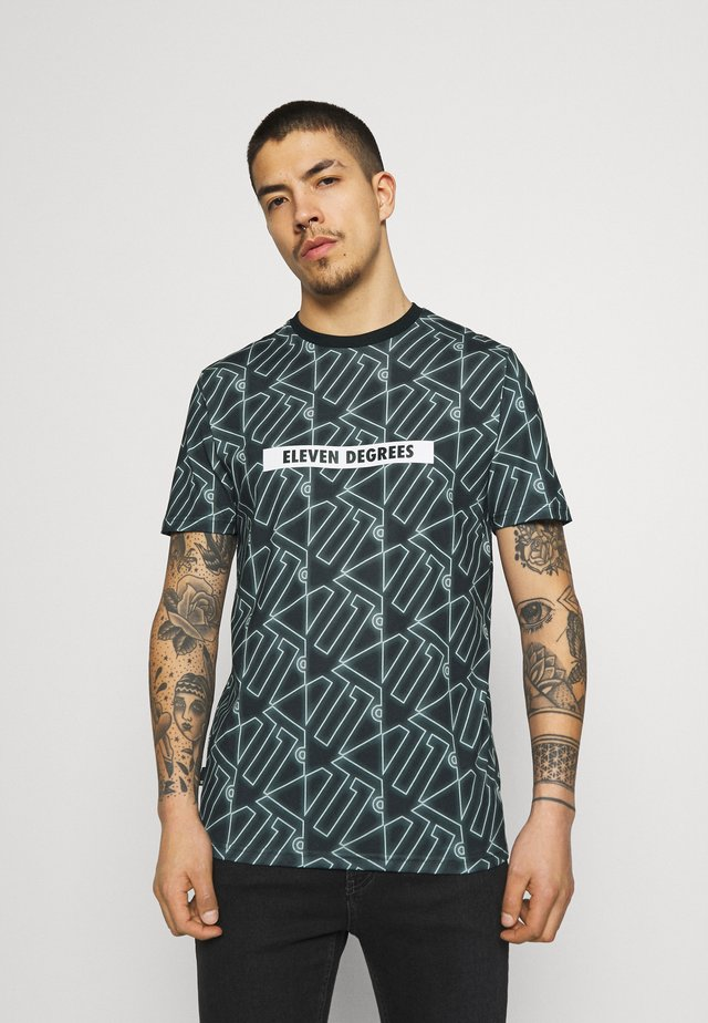ALL OVER PRINT  - Printtipaita - black/glacier green