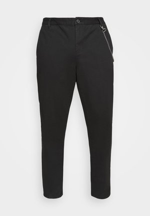 CROPPED LOOSE FIT PANTS - Trousers - black