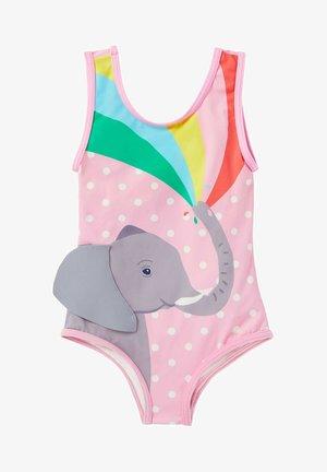 MIT APPLIKATION - Swimsuit - rosa getupft/elefant mit regenbogen