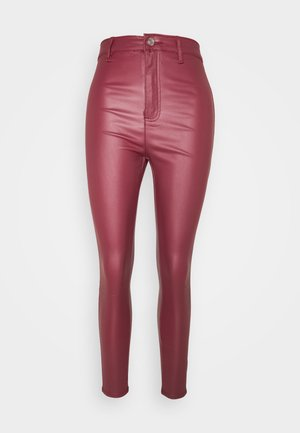 VICE HIGH WAISTED COATED - Trousers - burgundy