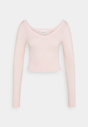 CARE POINTELLE CROP WITH LONG SLEEVES AND V NECK - Maglione - baby pink
