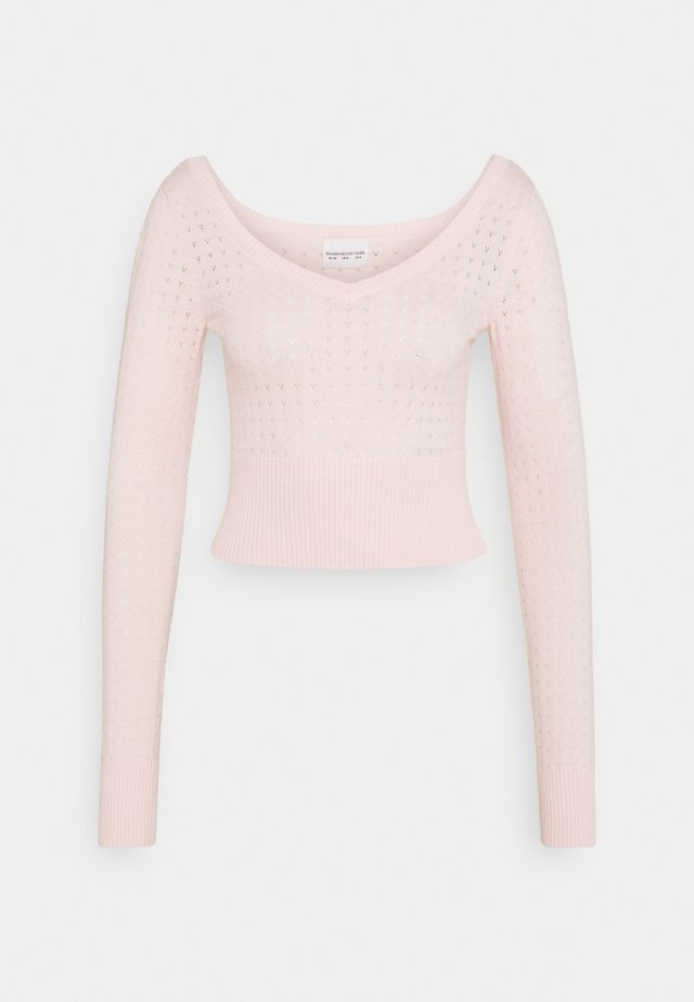 CARE POINTELLE CROP WITH LONG SLEEVES AND V NECK - Sweter - baby pink