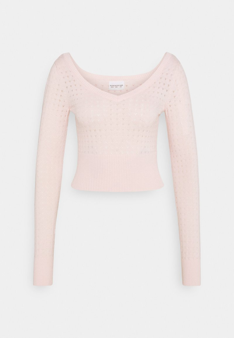 Glamorous - CARE POINTELLE CROP WITH LONG SLEEVES AND V NECK - Jumper - baby pink