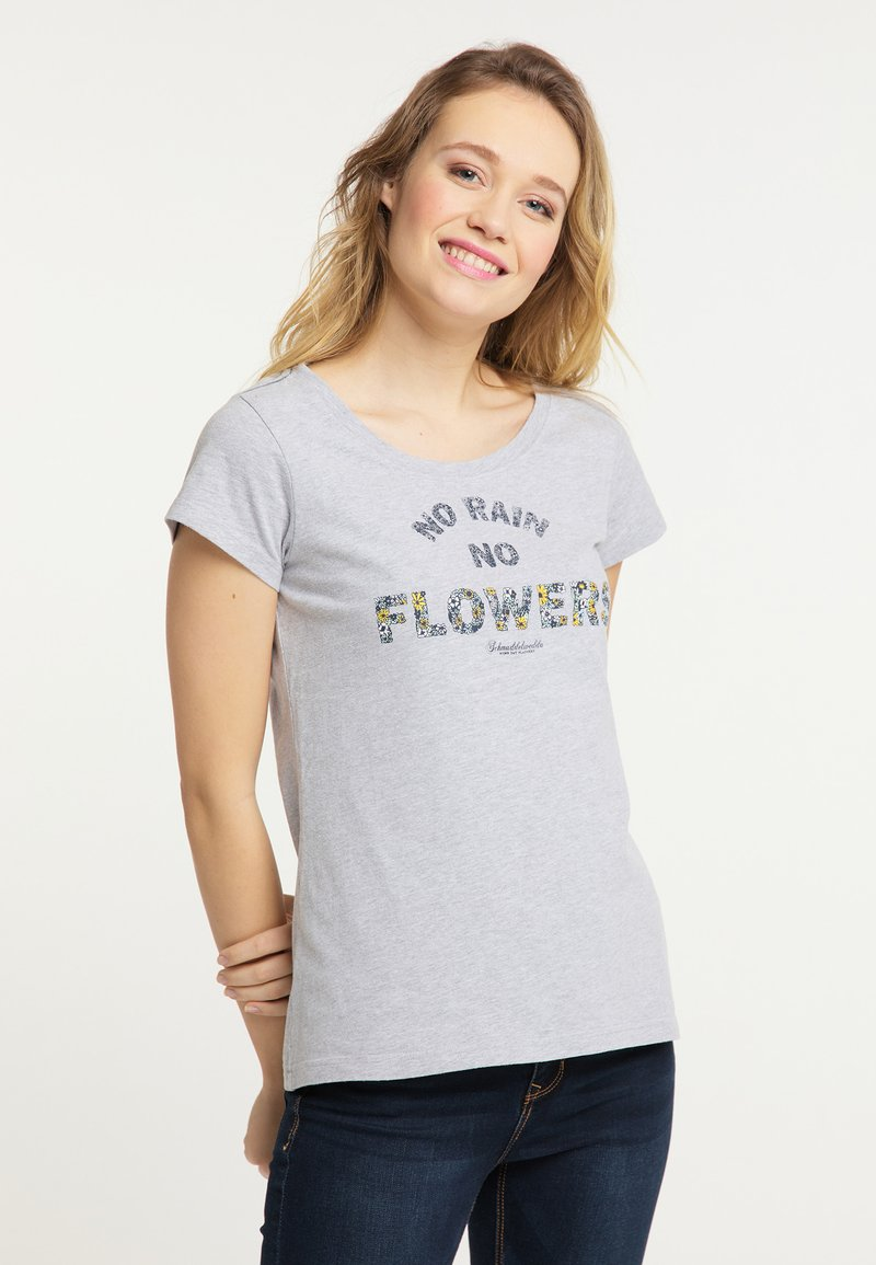 Schmuddelwedda - Print T-shirt - mottled light grey
