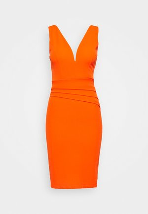 V NECK PLEAT DETAIL MIDI DRESS - Etui-jurk - orange