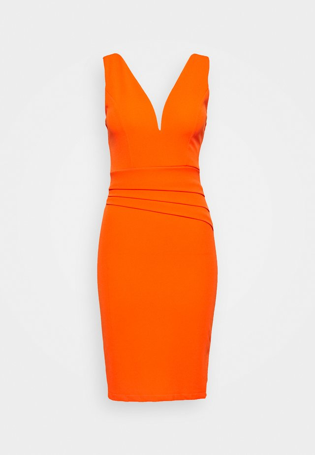 V NECK PLEAT DETAIL MIDI DRESS - Shift dress - orange