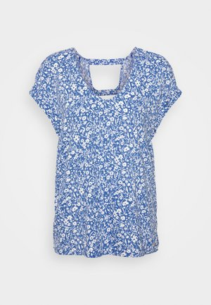 PRINTED V NECK  - Blouse - mid blue