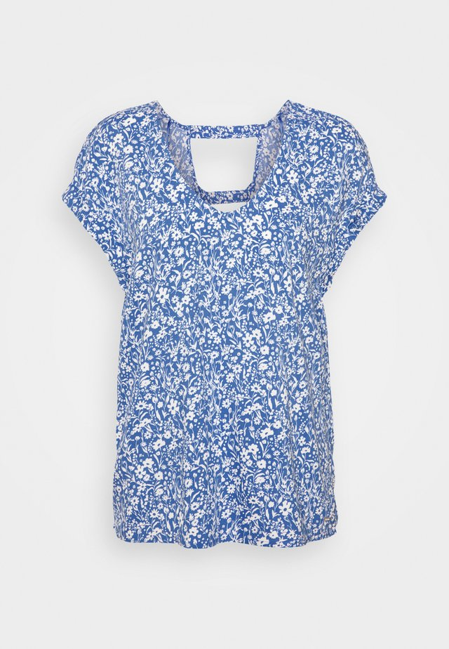 V NECK  - Print T-shirt - mid blue