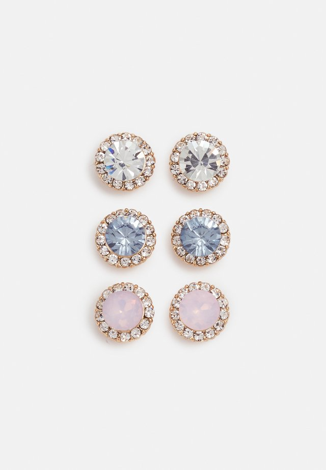 GWOSA 3 PACK - Boucles d'oreilles - light blue/blush/clear/gold-coloured