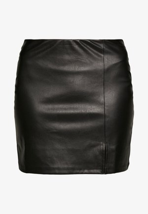 FAUX-LEDERN MINI ROCK - Minifalda - black