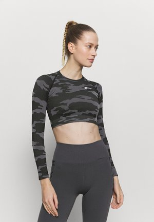 SEAMLESS CROPPED LONGSLEEVE RESERVE - T-shirt à manches longues - black