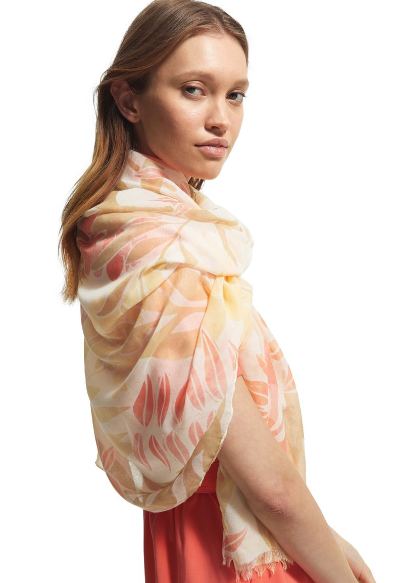comma - MIT ALLOVER-PRINT - Scarf - coral leaf aop