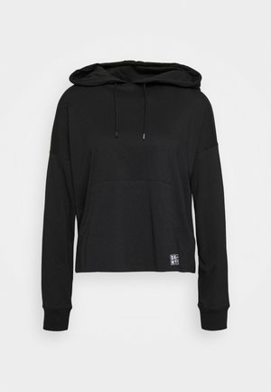 LOGO PATCH HOODIE WITH KANGA POCKET - Long sleeved top - black