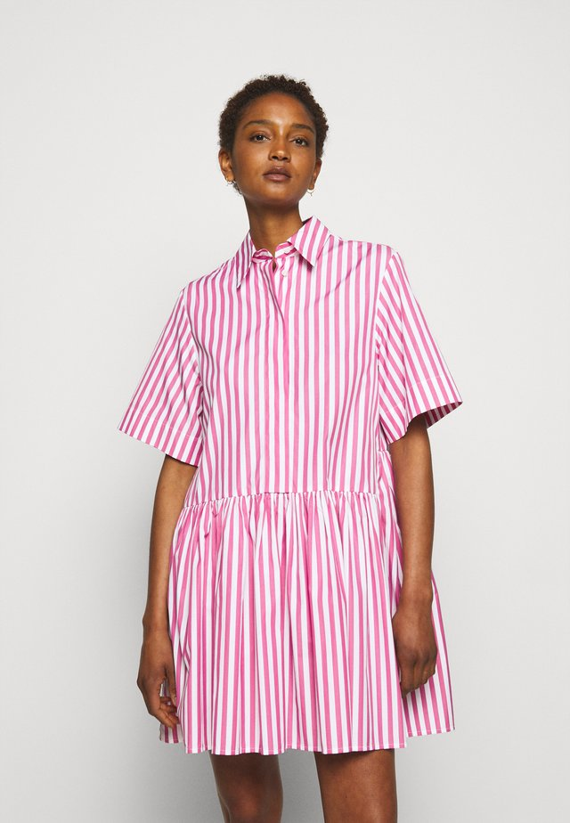 A-LINE BROAD STRIPE SHIRT DRESS - Blousejurk - pink/white