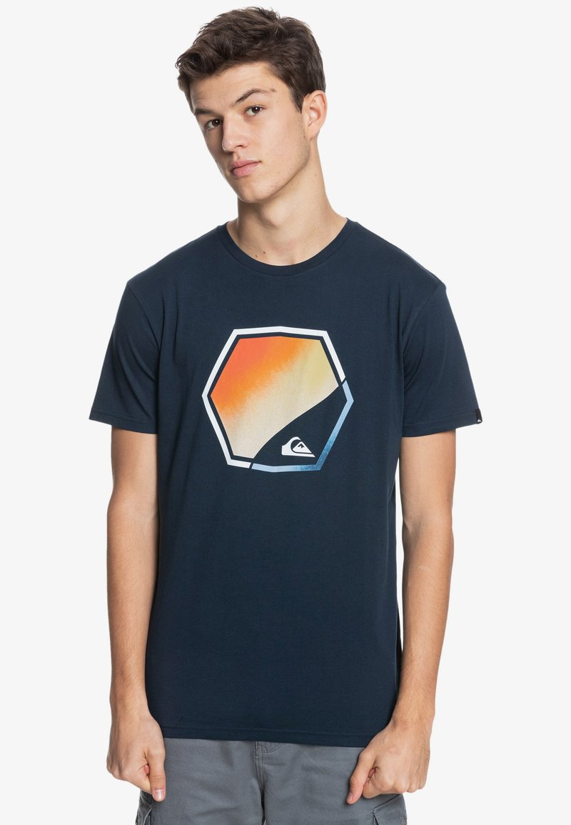 Quiksilver - FADING OUT  - Print T-shirt - navy blazer