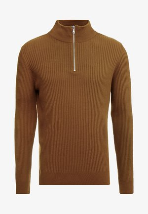 MUSCLE FIT HALF ZIP - Jumper - camel