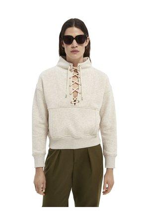 BOXY HIGH NECK WITH UTILITY DETAILS - Sweatshirt - off white melange