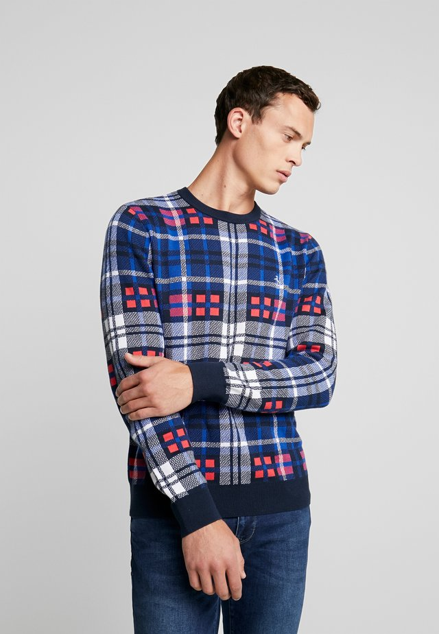 PLAID CREW NECK  - Sweter - rococco red