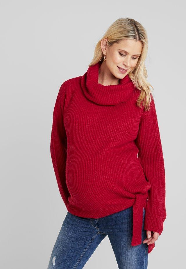 COSY TIE UP - Stickad tröja - cherry