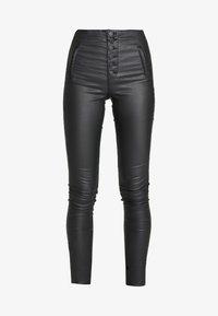 ONLY - ONLROYAL COATED BUTTON PANT - Spodnie materiałowe - black - 4