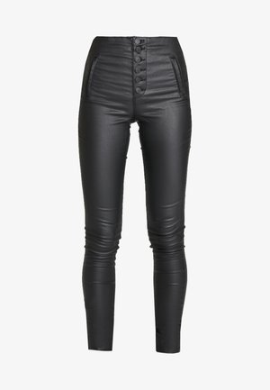 ONLROYAL COATED BUTTON PANT - Tygbyxor - black
