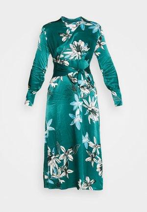 FLORAL WRAP DRESS - Vestido informal - green