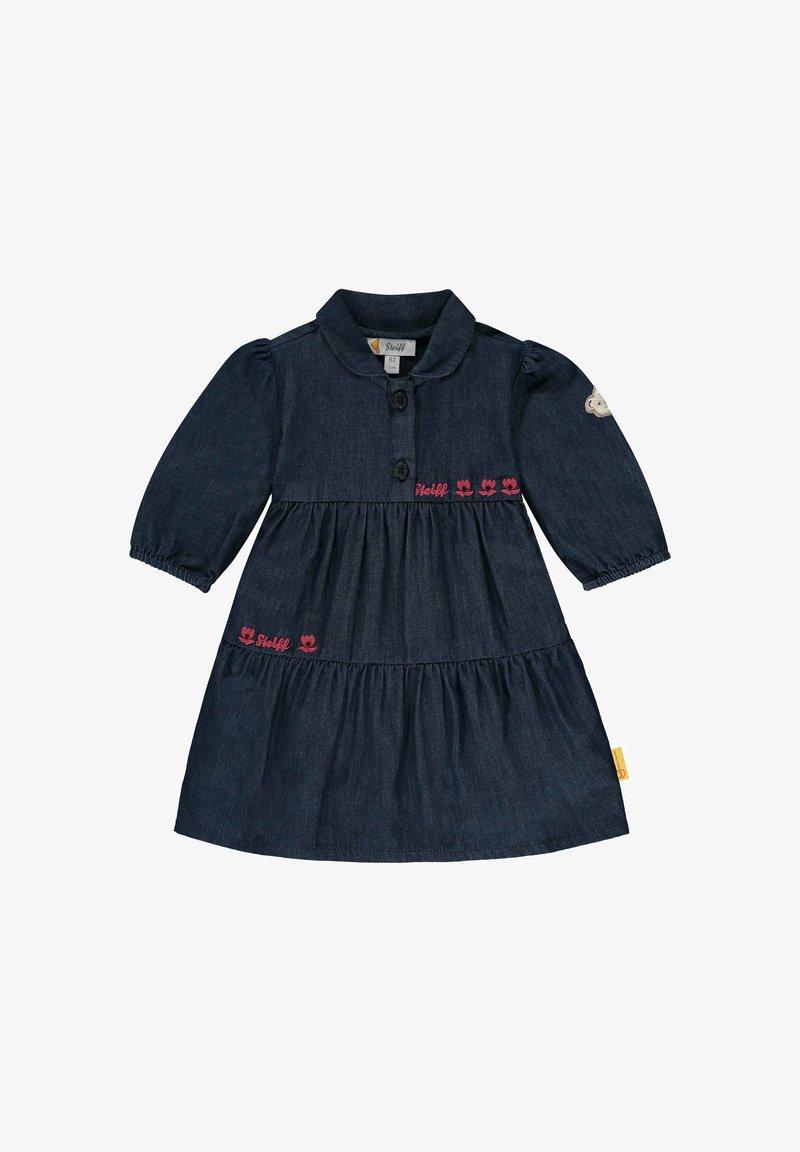 Steiff Collection - MIT LOGO- UND BLÜTENSTICKEREI - Denim dress - mood indigo