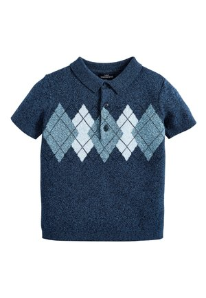 NAVY ARGYLE PATTERN KNITTED POLOSHIRT (3MTHS-7YRS) - Polo shirt - blue