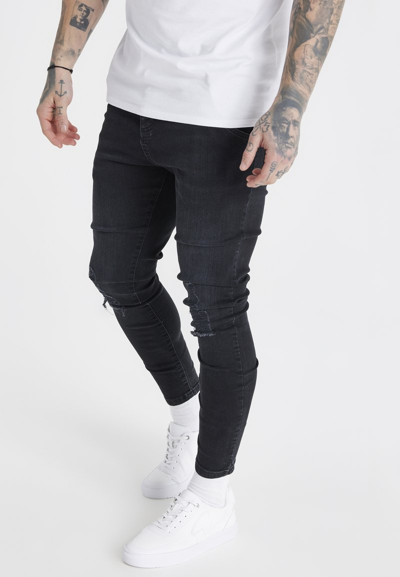 SIKSILK - Slim fit -farkut - washed black