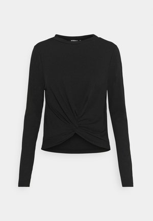 RECYCLED FINE KNOT FRONT - Long sleeved top - black