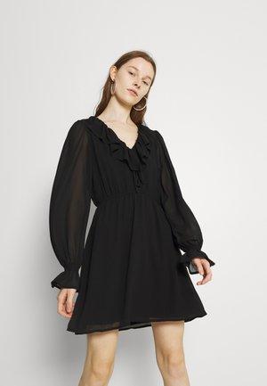 FRILL V NECK MINI DRESS - Jurk - black