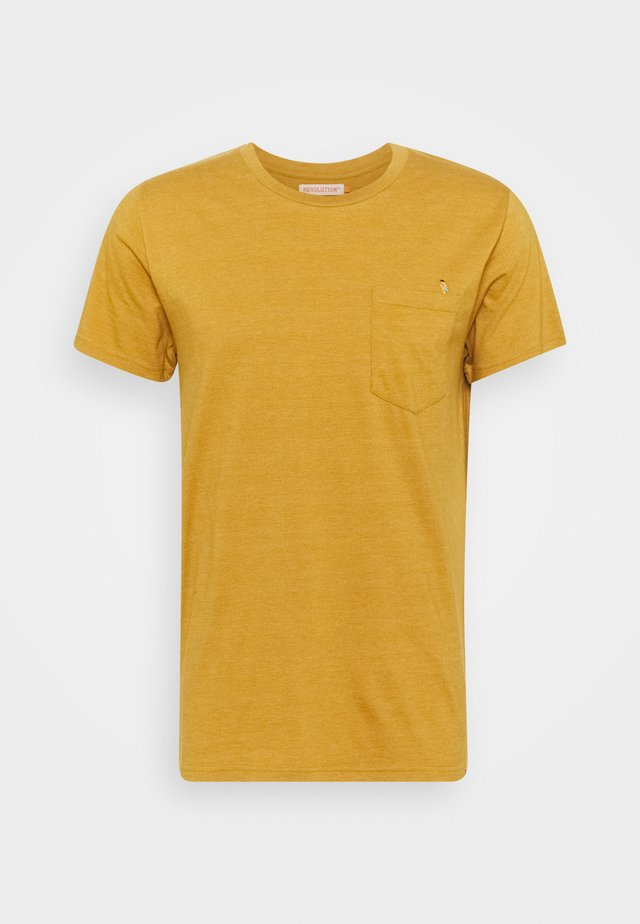 REGULAR - T-shirt print - yellow melange