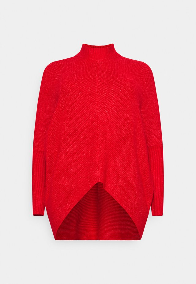 COSY HIGH NECK CHEVRON DETAIL JUMPER - Jumper - spice red