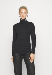 Calvin Klein Jeans - NECK ROLL NECK - Long sleeved top - black - 0