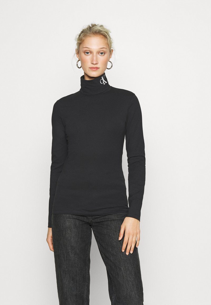 Calvin Klein Jeans - NECK ROLL NECK - Long sleeved top - black