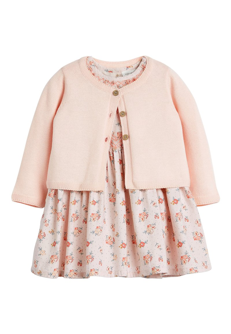 Next - PINK FLORAL PROM DRESS AND CARDIGAN SET (0MTHS-3YRS) - Cardigan - pink