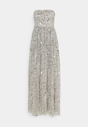 ALL OVER EMBELLISHED BANDEAU MAXI - Vestido de fiesta - soft grey