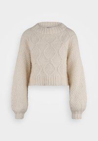 Glamorous Tall - KNITTED CROP JUMPER WITH LONG SLEEVES AND BOAT NECK - Stickad tröja - off white - 0