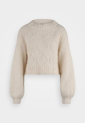 KNITTED CROP JUMPER WITH LONG SLEEVES AND BOAT NECK - Neule - off white
