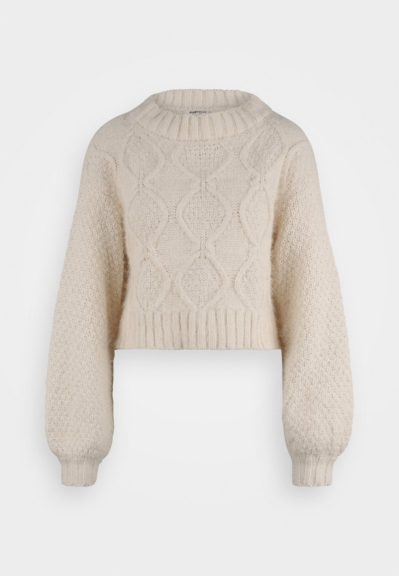 Glamorous Tall - KNITTED CROP JUMPER WITH LONG SLEEVES AND BOAT NECK - Stickad tröja - off white