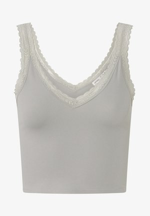 SEAMLESS STRAPPY LACE-TRIM TOP - Top - light green