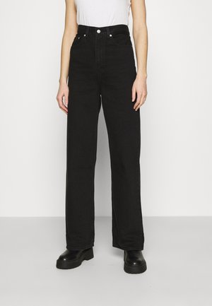 HIGH LOOSE - Jeansy Dzwony - black denim