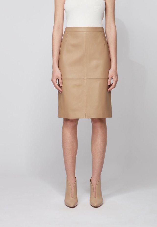 SELTONI - Leather skirt - beige