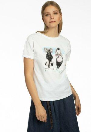 T-shirt con stampa - weiss-blau