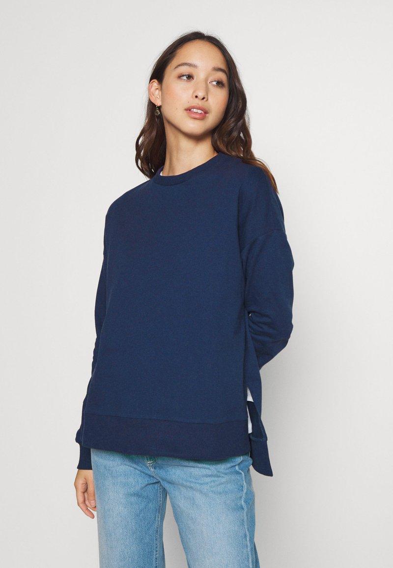 Zign - Slit Sides Oversized Sweatshirt - Sweatshirt - dark blue