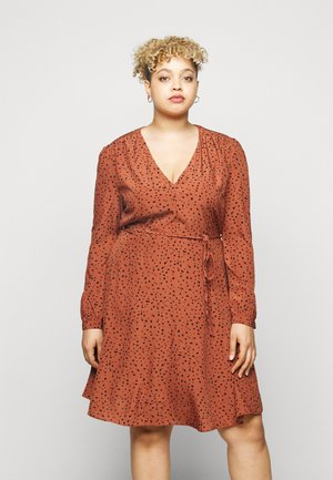 LONGSLEEVE TEA DRESS - Day dress - rust/black