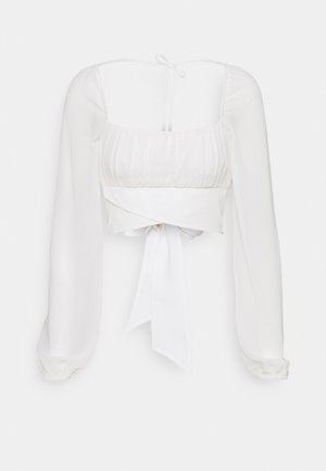 LONG SLEEVE RUCHED DETAIL BLOUSE - Blouse - white